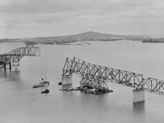The bridge under construction. Northcote Point is off to the left. Dad would have watched this being built from the new family home in Bayswater - right behind the highest part of the bridge here. Saint William, Under Construction, North Shore, Auckland, Historical Photos, Old Photos, New Zealand, Bridge, History