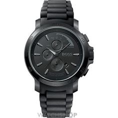 Sleek mens Hugo Boss model in black ion-plated steel. This stylish Hugo Boss design features a round black dial, chronograph, baton hour markers and date function. The watch fastens with a black rubber strap and is powered by a quality quartz movement. Cool Watches, Watches For Men, Men's Watches, Sport Watches, Montres Hugo Boss, Hugo Boss Watches, Bracelet Silicone, Herren Chronograph, Boss Orange