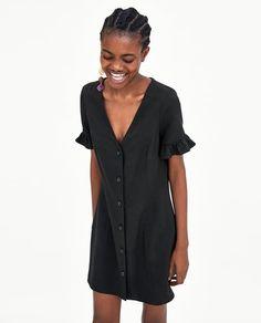Mini Dress with Collar - Black Collar Dress, Shirt Dress, Zara Shop, Zara Mini, Latest Fashion For Women, Womens Fashion, Zara Women, Dresses Online, Inspired Outfits