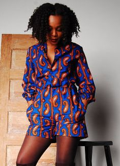 Ships from Texas  This African print romper is an awesome transition piece that can take you from the cooler months of fall and through spring. Wear it with boots and tights for a little extra co...