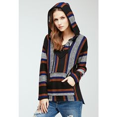 Forever 21 Forever 21 Women's  Lace-Up Striped Baja Hoodie ($25) ❤ liked on Polyvore featuring tops, hoodies, forever 21 tops, long sleeve hoodie, striped hoodies, long sleeve hoodies and v-neck tops