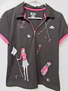 IZOD XFG Cool FX Golf Shirt Women's Ladies Size M Black Pink Graphic Golfing…