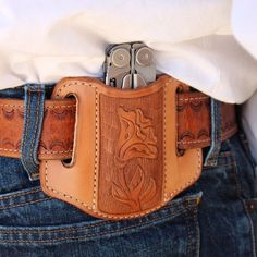 Leatherman sheath. Available at http://horsewrightclothing.com This sheath can also be basket stamped or border stamped.