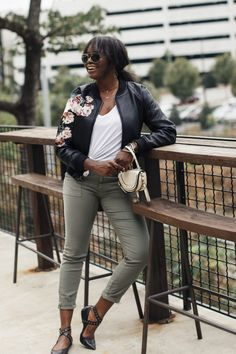 33b5848e1f8 Joie Painter Pant + Blank NYC Floral Leather Bomber Jacket + White Chloe  Nile Bag