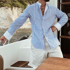 BrosWear Men's Loose Simple Striped Stand Collar Irregular Long Sleeve Shirt Fashion Shirts, Mens Fashion, Mens Fall, Winter Trends, Men Street, Printed Shorts, Long Sleeve Shirts, Street Style, Simple