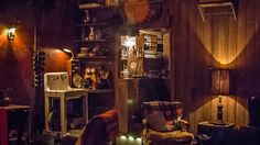 The Lodge at Gallow Green -Chelsea  - cabin-themed pop-up bar on top of the McKittrick Hotel