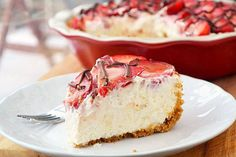 Strawberries and Cream Pie #Recipe.  I have a pumpkin no bake cheesecake recipe very much like this I adapted from a peach cool whip recipe. I use either heavy whipping cream or cool whip when I make it both are delicious!