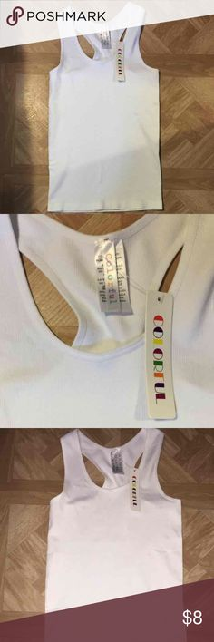 Colorful White Racerback Tanktop Brand is called Colorful White stretchy thick material Racerback style One size fits all Brand new with tags Tops Tank Tops