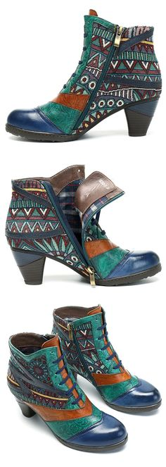 SOCOFY Bohemian Splicing Pattern Block Zipper Ankle Leather Boots. #women #fashion #boots #shoes