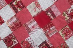 SALE Shabby Chic Patchwork Baby Quilt Red Pink