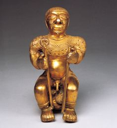 Gold chieftain sculptures from Colombia  								Colombia   Tumbaga(gold and copper)  14th century