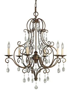Inspired by the grand chateaus of Southern France, the Chateau lighting collection by Feiss is both delicate and detailed. Its square tube curls lyrically play into one another as the hand polished crystals punctuate each curl for dramatic sparkle. Available in multiple sizes.