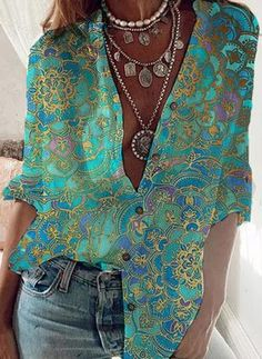 Floryday - Las Mejores Ofertas en Venta En Línea de Lo Último en Moda para Mujeres Loose Shirts, Printed Shirts, Printed Blouse, Tie Dye Long Sleeve, Long Sleeve Shirts, Half Sleeves, Types Of Sleeves, Chemise Fashion, Women's Fashion
