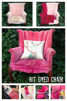 How To Dye An Upholstered Chair With RIT Dye . she camouflaged the worn out & stained original upholstery with a bottle of Rit liquid dye, a paintbrush & her garden hose. It was super easy & the chair looks SO much better . Refurbished Furniture, Repurposed Furniture, Shabby Chic Furniture, Furniture Makeover, Painted Furniture, Chair Makeover, Painting Fabric Furniture, Paint Upholstery, Upholstery Repair