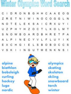 Winter olympics word search dltk's crafts for kids 2018 Winter Olympics, Winter Olympic Games, Winter Games, Winter Activities, Olympic Idea, Olympic Sports, Winter Word Search, Winter Words, Bobsleigh