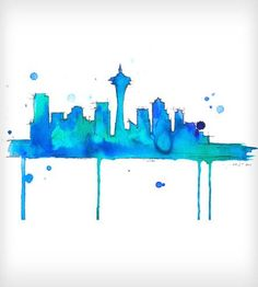 This is a print of my original watercolor and pen illustration, Seattle Blues. Seattle is a great city, and I am jealous of those who call it Seattle Skyline, Travel Illustration, Watercolor Print, Watercolor Artwork, Art Photography, Landscape Photography, Art Projects, Blues, Artsy