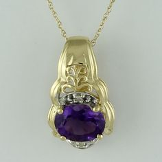 Amethyst 1.09 Ct Awesome Pendant 10K Yellow Gold With Chain Diamond Jewelry #SGL #Pendant