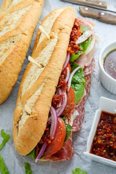 The Best Philly Style Italian Hoagies! This recipe is perfect for parties, game day, or packed lunches. sandwich recipe parties food The Best Philly Style Italian Hoagies - Baker by Nature Hoagie Sandwiches, Gourmet Sandwiches, Sandwiches For Lunch, Wrap Sandwiches, Easy Sandwich Recipes, Lunch Recipes, Cooking Recipes, Italian Hero Sandwich Recipe, Detox Recipes