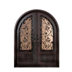 Iron Doors Unlimited Fero Fiore Classic 3/4 Lite Painted Oil Rubbed Bronze Decorative Wrought Iron Entry Door-IFF6298RRLT at The Home Depot