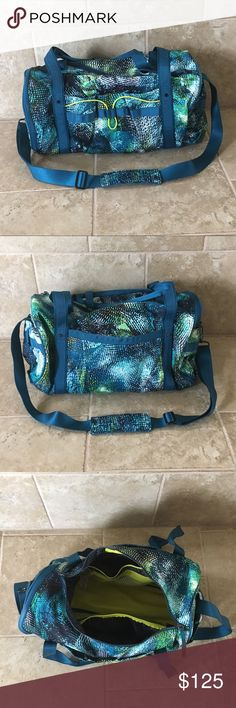"""Lululemon Run Ways Duffel *Seawheeeze Edition Lululemon run ways duffel from Seawheeze '16. NWOT. 18.5"""" x 10"""" x 10"""".  Water-repellent fabric. Diagonal zipper. Yoga mat straps stow away in the front and back pockets when not in use. Lots of pockets on the inside and outside of the duffel. NO TRADES I only sell through Poshmark. lululemon athletica Bags"""