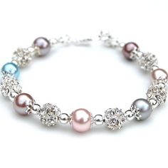Bridesmaid Jewelry, Taupe Silver Pink Blue Pearl Rhinestone Bracelet, Wedding Party