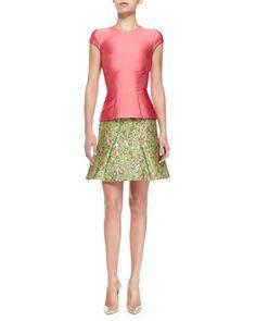 B2U3W Zac Posen Structured Satin T-Shirt, Coral