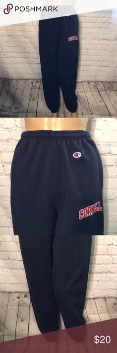 Cornell Sweatpants From Champion Eco Fleece S Champion Eco Fleece with Cornell University logo Dark blue sweatpants with inside drawstring elastic waistband High rise above the navel Elastic hems at the ankles to keep pants from riding up Champions logo at hip Cornell logo on left thigh Good used condition with minor pilling  Cotton polyester blend Size small  Measurements (flat lay, unstretched, and approximate) Waist: 12 inches Rise: 14 inches Inseam: 30 inches Length: 40 inches Champion Pants Track Pants & Joggers
