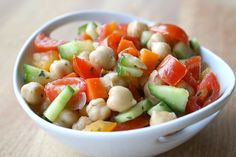 Chickpea Salad packed with lots of fresh veggies! Makes a great take-along lunch! (vegan, gluten-free)