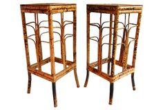 Tortoise Bamboo Pedestal Tables, S/2