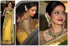 Sridevi in Sabyasachi Couture saree. Available at Ethnic Couture. Sabyasachi Sarees, Bollywood Saree, Indian Bollywood, Bollywood Actress, Lehenga, Silk Sarees, Most Beautiful Eyes, Beautiful Saree, Saree Blouse Patterns