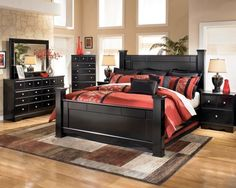 furniture marvelous ashley shay queen poster bedroom set using dresser cabinet with mirror aside small red flower arrangements also king bed frame with headboard and footboard