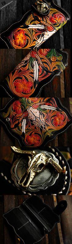 Handmade leather biker trucker wallet black skull floral leather chain men Carved Tooled wallet