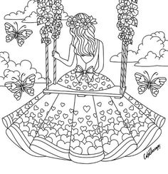 Girl sitting on a swing coloring page