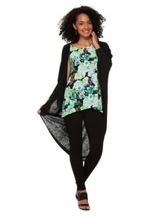 Long at the back and open at the front, this cocoon shape cardigan has three-quarter length sleeves.