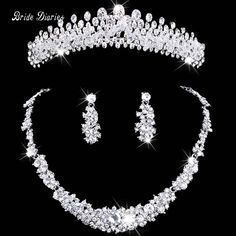 Hochzeits- & Verlobungs-schmuck Schöne Tiaras Crown Schmuck Sets Braut Hochzeit Halsketten Ohrringe Set Mode Haar Zubehör Kronen Necklacesearrings Set Brautschmuck Sets