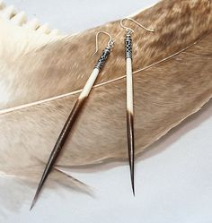 Porcupine Quill Earrings Native American Silver by DesignsBloom, $29.99