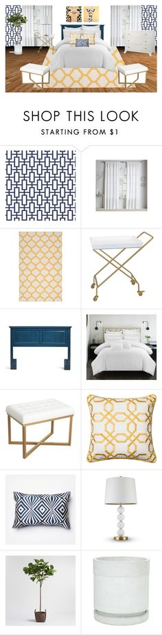 """""""Yellow/Navy Guest Room"""" by tara-scott-johnson on Polyvore featuring interior, interiors, interior design, home, home decor, interior decorating, Surya, HomePop, Loloi Rugs and cupcakes and cashmere"""
