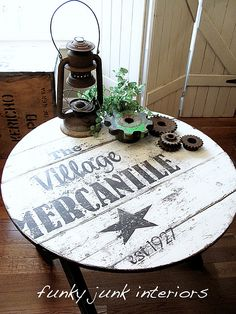 old sign tabletop by Funky Junk Interiors