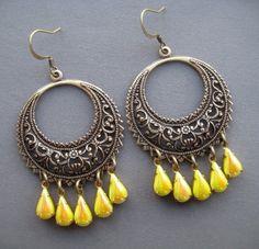 Vintage Style Earrings - Chandelier Earrings - Bohemian Earrings - Filigree Hoop Earrings - Filigree Jewelry - Yellow Earrings - Spring by SilverTrumpetJewelry on Etsy