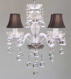 Murano Venetian Style All Crystal Chandelier w Crystal Balls and Black Shades | eBay