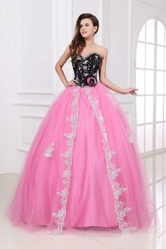 Sweetheart Floor-length Satin Organza Ball Gown Quinceanera Dress Qd0030
