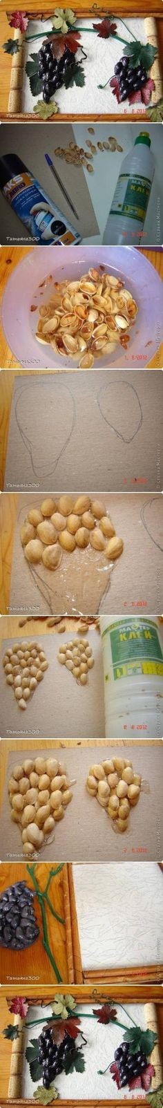 tutorial - diyforever- made with wine corks and shells of pistachios