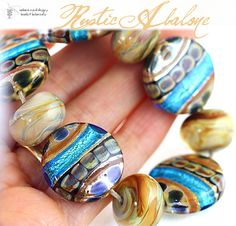 Lampwork Beads Tuscan Abalone Set  Handmade Glass by radiantmind, $95.00
