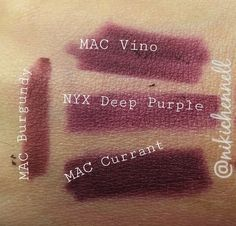 Dupe for MAC Vino lipliner. NYX Deep Purple