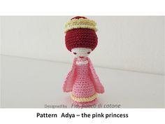 Pattern Adya, the pink princess , miniature doll amigurumi crochet