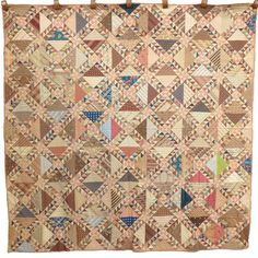 DAZZLING mid-1800's LADY in LAKE scrapbag QUILT w/ full 1876 Centennial BACKING!