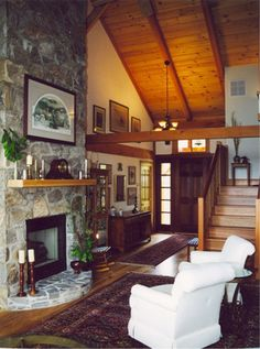Vaulted ceiling fireplace:)