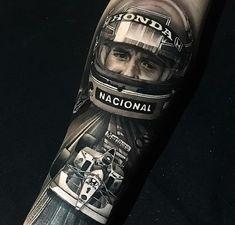 Car Tattoos, Sleeve Tattoos, Tatoos, Future Tattoos, Formula 1, Tattoo Designs, Helmet, Painting, Ayrton Senna