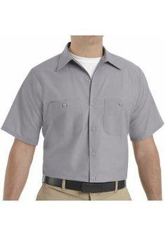 Red Kap Workwear on sale at Full Source! Order the Red Kap Men\'s Industrial Work Shirt - Short Sleeve - Light Grey online or call Short Sleeve Linen Shirt, Short Sleeves, Mens Work Shirts, Traditional Sleeve, Work Uniforms, Flannel Shirt, Plaid Flannel, Shirt Jacket