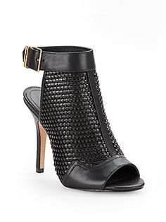 Open-Toe, Open-Back Leather Ankle Boots